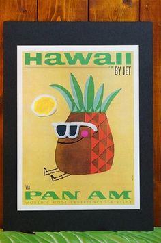ハワイアンポスター(パンアメリカン航空/パンナムパイナップル)☆ハワイアン雑貨☆ハワイ雑貨☆ハワイアンインテリア☆