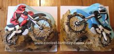 Homemade Dirt Bike Birthday Cake Design: I made this Dirt Bike Birthday Cake Design for a friend of mine, she has twin boys who love their dirt bikes. I baked square chocolate cakes (10x10) and