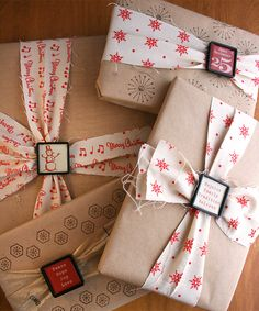 Fabric.Ribbon-slides.Kraft | Cosmo Cricket Gift Wrap #wrapping #presents #packaging #cute #christmas #red #white #kraft