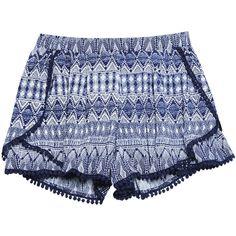 Tribal Print Pompom Trim Envelope Shorts found on Polyvore