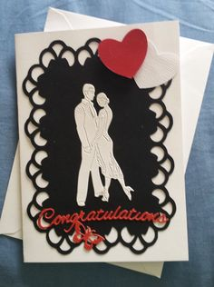 Congratulations - Salsa dancing couple from Tattered Lace on frame cut from Brother Scan n Cut £2.50 inc p&p