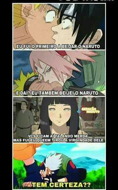 Sasuke: Naruto's first kiss Sakura: Naruto's second kiss Hinata: They keep talking shit but I took his virginity Kakashi: Are you sure Lolllll. Anime Naruto, Naruto Meme, Otaku Anime, Kakashi Sensei, Naruto Shippuden Sasuke, Naruto Funny, Shikamaru, Naruto And Sasuke, Manga Anime