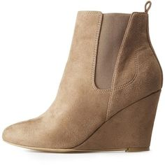 52e97c4936d6 Charlotte Russe Wide Width Gored Wedge Booties ( 29) ❤ liked on Polyvore  featuring shoes