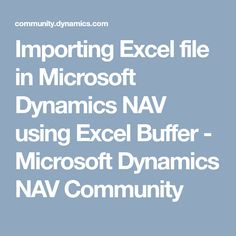 Introduction This article is to import data from the Excel file into existing NAV table. This import matches the excel entries with the existing NAV table. Microsoft Dynamics, Buffet, Catering Display, Lunch Buffet