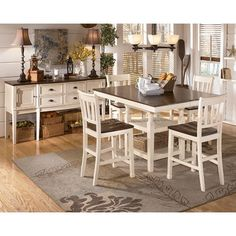 Whitesburg Square Dining Room Counter Extension Table with Storage by Signature Design by Ashley at Rotmans . Maybe something like this in the formal dining room to match the brown tan and blue theme Dinning Room Tables, Dining Room Sets, Kitchen Tables, Kitchen Ideas, Dining Area, Kitchen Dining, Small Dining, Counter Height Dining Sets, Counter Height Table