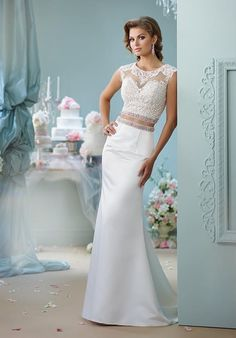 7e59ca37103b Tendance Robe du mariage 2017/2018 - Mon Cheri two-piece mermaid styled gown  with deep-illusion neckline, embellished... Two Piece Wedding DressWedding  ...