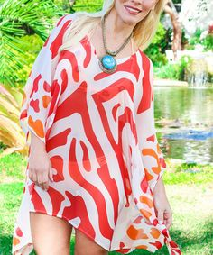 Another great find on #zulily! Coral & White Animal Sidetail Tunic #zulilyfinds
