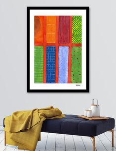 Discover «Large rectangle Fields between red Grid», Numbered Edition Fine Art Print by Heidi Capitaine - From 29€ - Curioos