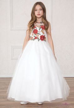 67f1c392822 Full Length First Communion Dress with Multi Color Floral Bodice -Shop First  Communion Dresses