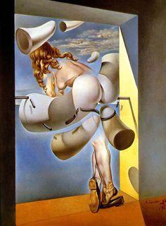 """Art from Spain - Salvador Dalí. (1904 – 1989), was a prominent Spanish surrealist painter born in Figueras, Spain. Dalí was a skilled draftsman, best known for the striking and bizarre images in his surrealist work.""""Joven virgen autosodomizada por los cuernos de su propia castidad"""", 1954. En el cuadro se destaca el tema de la pureza de la mujer, quien asomada a la ventana intenta escapar de su propia virginidad con el fin de liberarse de su castidad."""