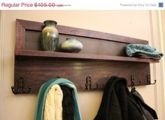 ON SALE Beautiful Dark Cherry Stained 6 Hook by TheKnottyShelf, $95.00