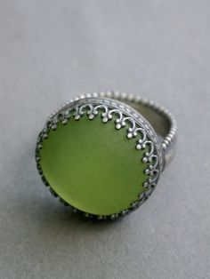 limon filigree ring icy pale lime ring metalwork art jewelry everyday ring cocktail ring icy pale green jaime jo fisher matte glass