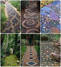 Idéias criativas, pedras coloridas, mosaicos de pedras