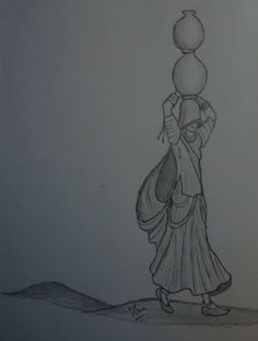 Drawing Pencil Illustration Artworks Ideas For 2019 Abstract Pencil Drawings, Art Drawings Sketches Simple, Girl Drawing Sketches, Pencil Sketch Drawing, Heart Drawings, Drawing Ideas, Rajasthani Painting, Rajasthani Art, Dancing Drawings