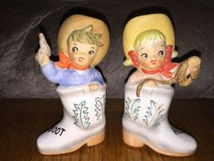Vintage Couple in Cowboy Boots Salt and Pepper Shakers