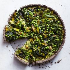 Amy Chaplin's Gluten-Free Savory Tart Recipe | Martha Stewart Living - A main course for spring, or almost spring, that's gluten-free, vegan, and topped with fresh green vegetables. You'll love the buckwheat-oat crust.