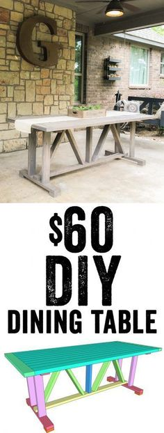 LOVE this DIY Dining Table! Free plans and tutorial! Only $60 in lumber to build... Yes! www.shanty-2-chic.com #InteriorPlanningIdeas