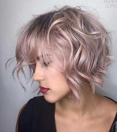 Rose Gold Wavy Bob with Bangs