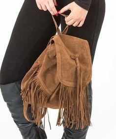 Look at this #zulilyfind! Camel Fringe Backpack #zulilyfinds