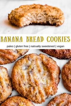 Banana Bread Cookies (Gluten Free, Vegan, Paleo) Banana bread cookies are a delicious and healthy treat the whole family will enjoy. They are gluten free and full of banana flavor – with just a hint of cinnamon. You'll love this easy banana cookie recipe! Banana Cookie Recipe, Banana Bread Cookies, Healthy Banana Bread, Healthy Banana Cookies, Gluten Free Vegan Banana Bread, Healthy Cookies For Kids, Easy Vegan Cookies, Healthy Banana Recipes, Banana Recipes Dinner