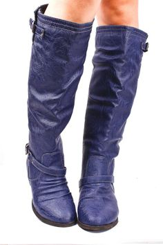 cute blue leather boots... sure to put some color into a rainy day