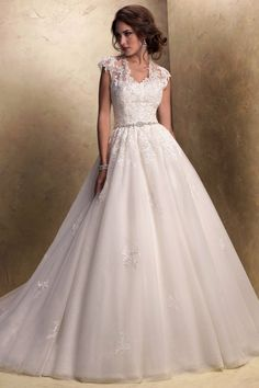 Formal Romantic Ivory White $$ - $701 to $1500 Ball Gown Ballroom Beading Cap Sleeve Floor Historic Site Illusion Sleeves Lace Maggie Sotter...