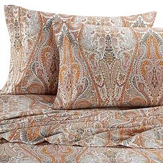 Make your bedroom a relaxing haven with the Bellino Fine Linens Paisley Sheet Set. Beautifully crafted in Italy, the ornate Egyptian cotton sheets are exquisitely designed with a paisley pattern in orange hues.