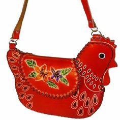 Cowhide Chicken Shoulder Bag - Chicken Presents for Chicken Lover