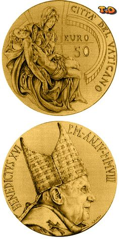 euro: Masterpieces of Sculpture - Torso of Belvedere - The Pieta by Michelangelo Country: Vatican City Mintage year: 2008 Issue date: Face value: 50 euro Diameter: mm Weight: g Alloy: Gold Quality: Proof Mintage: pc proof Mint: IPZS (Italia) Gold Bullion Bars, 50 Euro, Gold Money, Gold And Silver Coins, Commemorative Coins, Old Coins, Vatican City, Coin Collecting, Sculpture