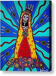Dia De Los Muertos Canvas Prints - Virgen Guadalupe Dia De Los Muertos Canvas Print by Pristine Cartera Turkus
