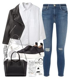 """Outfit with a shirt and leather jacket"" by ferned ❤ liked on Polyvore featuring Frame Denim, Acne Studios, Burberry, Topshop, Calvin Klein Collection, Givenchy and Michael Kors"