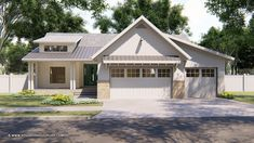 Lake life This 3 bed modern cottage ranch has an attractive gable over the garage and a shed dormer Modern Farmhouse Plans, Farmhouse Design, Farmhouse Style, Ranch House Plans, House Floor Plans, Style At Home, Shed Dormer, Modern Cottage, Building A Shed