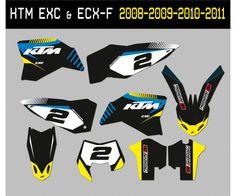 Kit autocollant KTM enduro : 125  EXC , 250 EXC , 300 EXC , 250 EXC-F, 350 EXC-F, 450 EXC-F, 500 EXC-F Ktm Exc, Jet Ski, Stickers Moto, Motocross, Quad, Iron Man Birthday, Enduro, Kit, Motogp