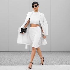 micahgianneli:  White on white Wednesday  Top + skirt by @mateadesigns