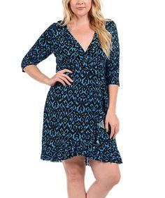 Bellino Blue & Black Damask Ruffled V-Neck Dress - Plus | zulily