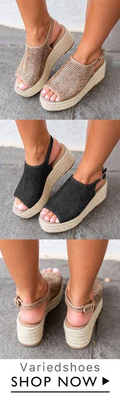 9c3f90aedcb9 Shop Platform Peep Toe Weaving Sandals online. Discover unique designers  fashion at Variedshoes.com