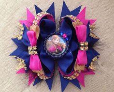 Girl's Disney frozen Anna Stack boutique hair bow 5 Inch #Handmade
