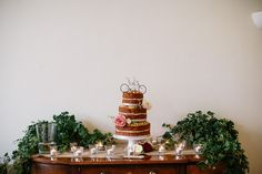 Foliage Greenery Cake Table Candles Bicycle Rich Plum Stylish Relaxed Wedding http://albertpalmerphotography.com/