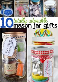 Mason Jar Gifts makes for the cutest little Christmas present ever! The jar can be used again and again making them Earth friendly and adorable! You'll find some mason jar gifts for friends, for mom, and even mason jar gift ideas for him! Save this pin! Pot Mason Diy, Mason Jar Gifts, Gift Jars, Diy Gifts In A Jar, Creative Gifts, Cool Gifts, Diy Christmas Gifts, Holiday Gifts, Santa Gifts