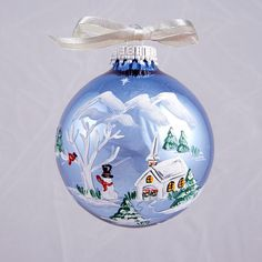 Light Blue Village with Cardinal Ornament by AudreyBDesigns