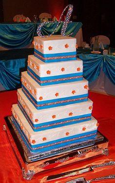 orange and  wedding cakes | Blue & Orange Scrolling Vine Wedding Cake