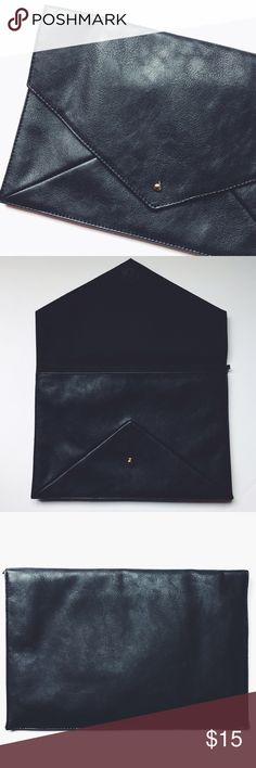 💁🏻FINAL PRICE. F21 black clutch. 100% polyester. 8x12 clutch with a smooth touch. Easy closure with envelope detail.👌🏽Great Condition. ❌NO TRADES❌✨BUNDLE + SAVE ✨ Forever 21 Bags Clutches & Wristlets