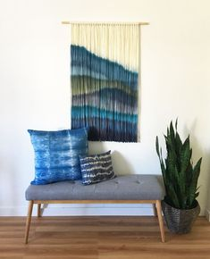 Dip Dyed Wall Hanging – Yarn Tapestry – Boho wall hanging – Fiber Art -Wall Hanging – Boho decor – Blue Art – Blue Wall Hanging – Inspire By Kelsey – weberei Weaving Wall Hanging, Boho Wall Hanging, Wall Hangings, Yarn Wall Art, Driftwood Wall Art, Wall Decor, Room Decor, Bed Wall, Living Room Art