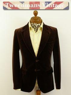 Modern velvet jacket dark brown mens 36R   Tweedmans Vintage