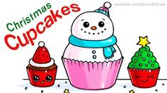 How to draw christmas cupcakes step by step easy and cute Cute Food Drawings, Sweet Drawings, Easy Drawings For Kids, Cute Kawaii Drawings, Draw So Cute Christmas, Christmas Doodles, Christmas Drawing, Christmas Images, Chibi Kawaii