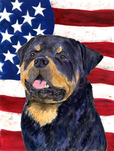 USA American Flag with Rottweiler House Vertical Flag
