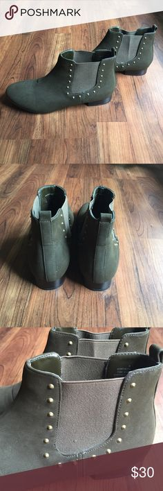 Express Studded Chelsea Boots Gorgeous ankle boots from Express. These are a deep olive green color with gold studded details. So perfect for fall! Elastic at ankles makes for easy pull-on styling. Material is suede-like. Excellent condition! Express Shoes Ankle Boots & Booties