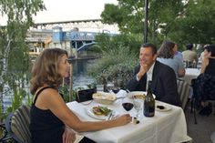Lovely Guests dining on the patio at Ponti Seafood Grill, Seattle Washington