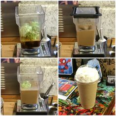 The Cup O' Kryptonite at Capes Kafe. With mint chocolate ice cream, espresso, and squirts of milk, dark, white chocolate.