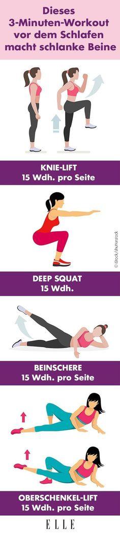 Für alle, denen die Zeit oder aber ganz einfach die Motivation für ein ausführliches Fitness-Programm fehlt, die sich aber trotzdem schlanke Beine wünschen, haben wir die perfekte Lösung: Dieses Bein-Workout dauert nur drei Minuten und du kannst es ganz locker vor dem Schlafengehen erledigen. #workout #schlankebeine
